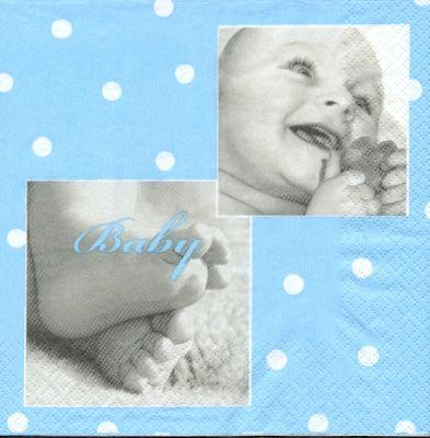 Serviette papier motif naissance garçon 33 cm X 33 cm 3 plis