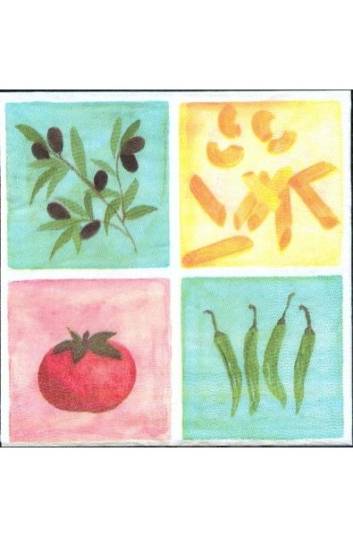 Serviette papier motif olives et Espagne de 33 cm X 33 cm