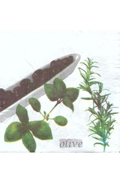 Serviette papier motif olives de 33 cm X 33 cm 3 plis