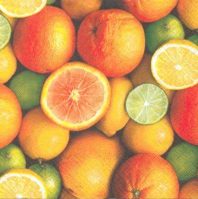 Serviette papier motif oranges et citron 33cm X 33 cm 3 plis