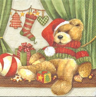 Serviette papier motif Noël et oursons 33 cm X 33 cm 3 plis