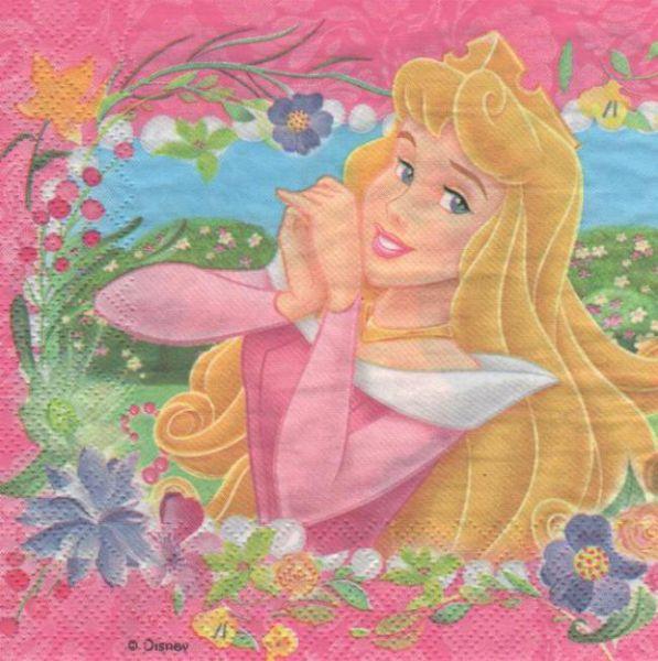 Serviette papier motif 2 Princesses de 33 cm X 33 cm 2 plis