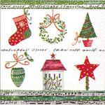 Serviette papier  motif Sapin de Noël 33 cm X 33 cm 3 plis