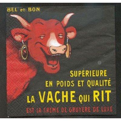 Serviette papier motif Vache qui Rit de 33 cm X 33 cm 3 plis