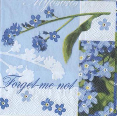 Serviette papier myosotis fleurs 25 cm X 25 cm 3 plis