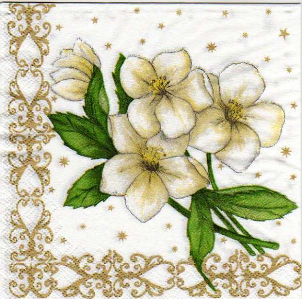 Serviette papier narcisse blanc  33 cm X 33 cm 3 plis