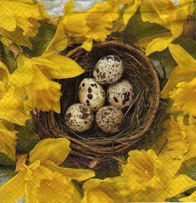 Serviette papier nid de Paques 33 cm x 33 cm