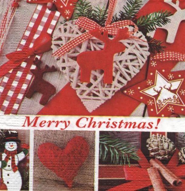 Serviette papier Noël et coeur 33 cm X 33 cm 3 plis