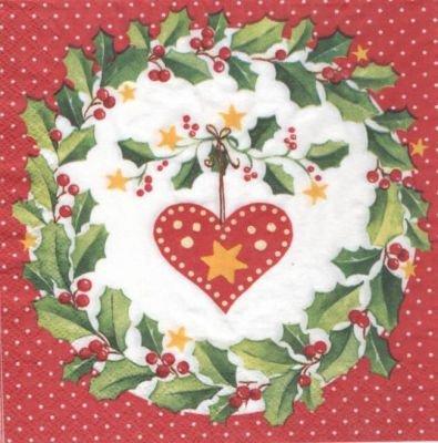 Serviette papier Noël et houx 33 cm X 33 cm 3 plis