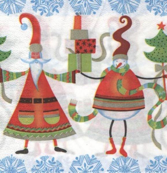 Serviette papier Noël et lutin 33 cm X 33 cm 3 plis