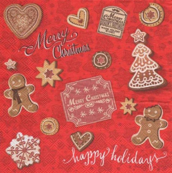 Serviette papier Noël Merry Christmas 33 cm X 33 cm 3 plis