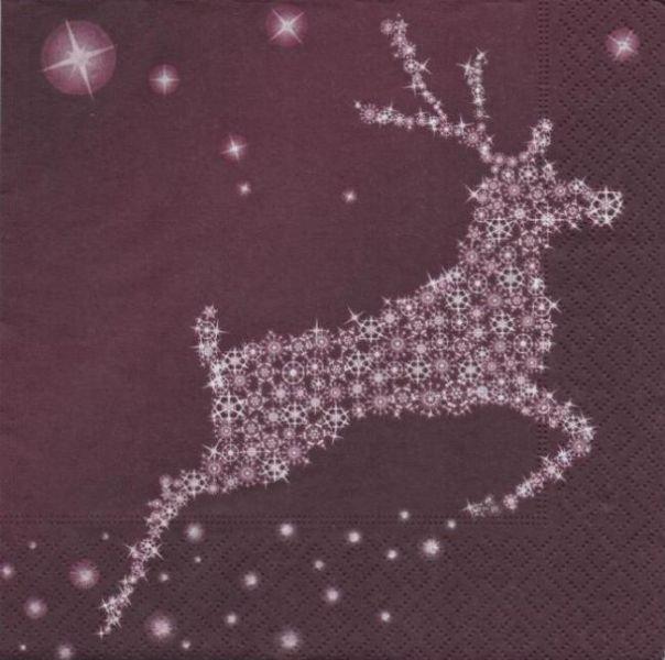 Serviette papier Noël et renne 33 cm X 33 cm 3 plis