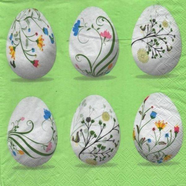 Serviette papier oeufs de Paques et fleurs blanche