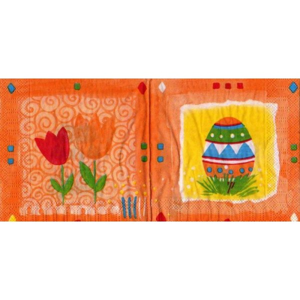Serviette papier oeufs de Pâques et tulipes