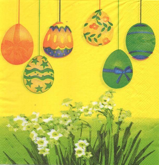 Serviette papier oeufs de Pâques et fleurs
