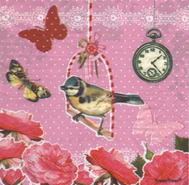 Serviette papier Oiseau et papillon 33 cm X 33 cm 3 plis