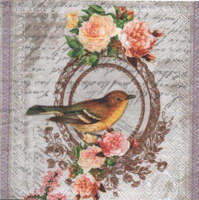 Serviette papier oiseau et roses 33 cm X 33 cm 3 plis