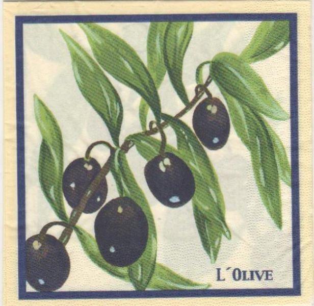 Serviette papier l'olive noire de 33 cm X 33 cm 3 plis