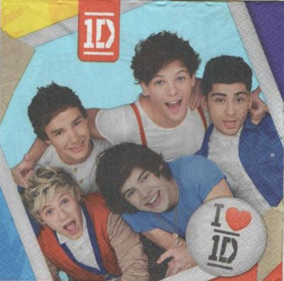 Serviette papier One Direction 33 cm X 33 cm 2 plis