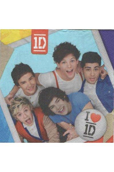Serviette papier One Direction 33 cm X 33 cm 2 plis