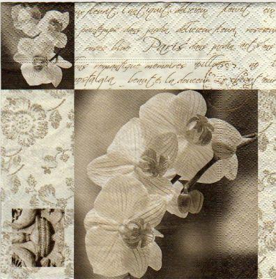 Fleurs serviette papier orchid e 33cm x 33 cm 3 plis - Fournitures loisirs creatifs ...
