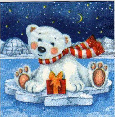 Serviette papier ours blanc 33 cm X 33 cm 3 plis
