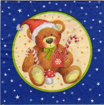 Serviette papier Ourson Noël 33 cm X 33 cm 3 plis