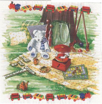 Serviette papier ourson dans le parc 33 cm X 33 cm 3 plis