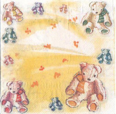 Serviette papier 4 oursons peluche  33 cm X 33 cm 3 plis