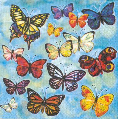 Serviette papier papillons 33 cm X 33 cm 3 plis