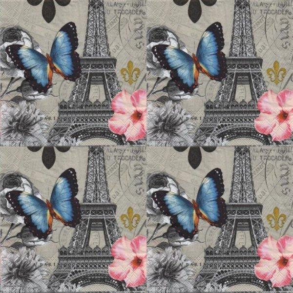 Serviette papier papillons bleu 33 cm X 33 cm 3 plis