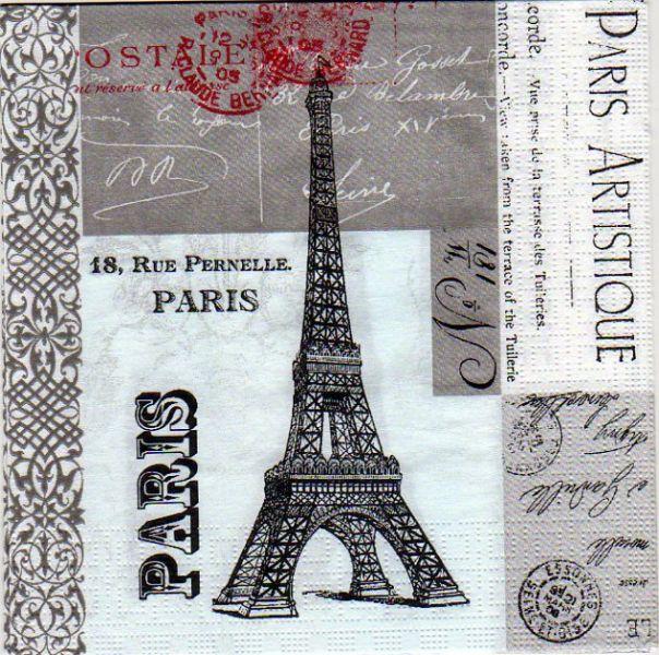 Pays serviette papier paris artistique 33 cm x 33 cm - Fourniture loisirs creatifs ...