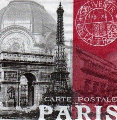 Serviette papier Paris carte postale 33 cm X 33 cm 3 plis