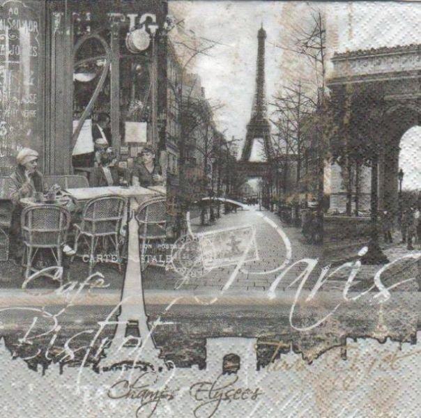 Serviette papier Paris et champs Elysée 33 cm X 33 cm 3 plis