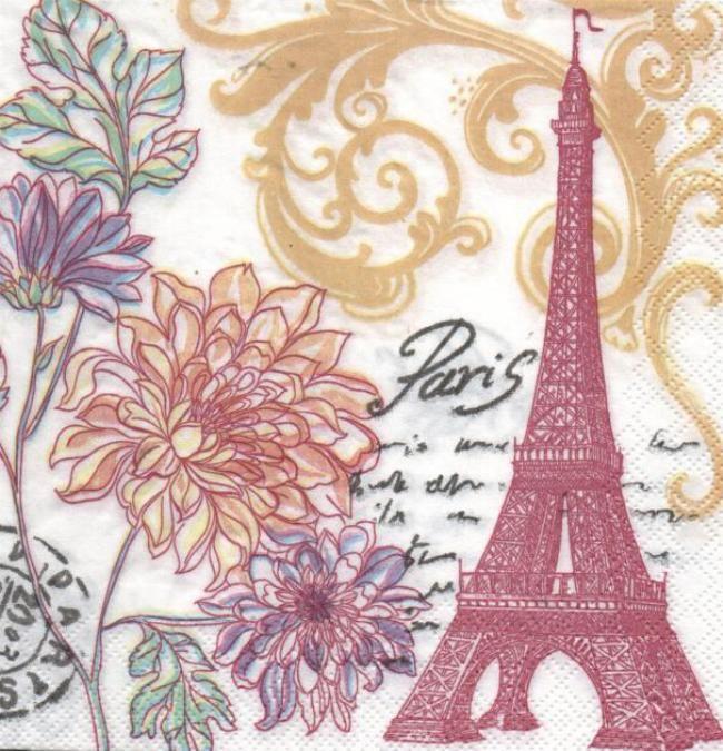 pays serviette papier paris en fleurs 33 cm x 33 cm 3 plis. Black Bedroom Furniture Sets. Home Design Ideas