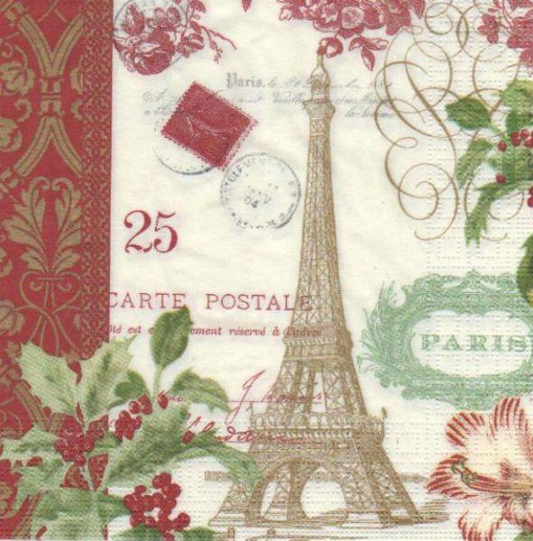 Pays serviette papier paris en hiver 33 cm x 33 cm - Fournitures loisirs creatifs ...