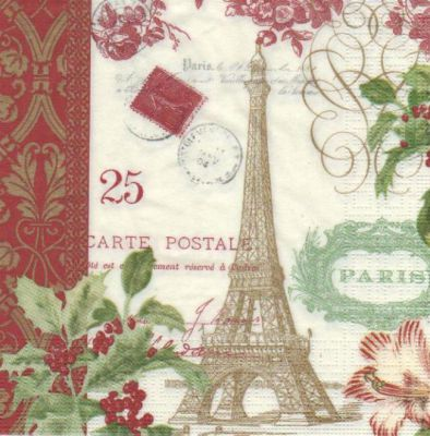 Serviette papier Paris en hiver 33 cm X 33 cm