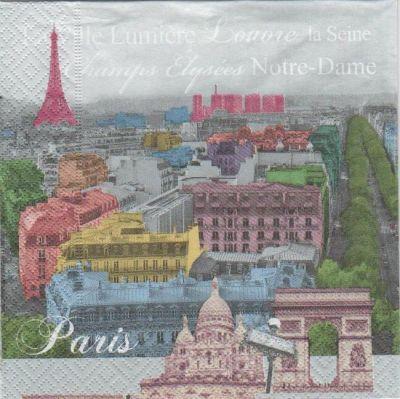 Serviette papier Paris et Louvre 33 cm X 33 cm 3 plis