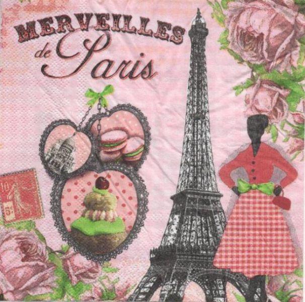 Serviette papier Paris et Merveilles 33 cm X 33 cm 3 plis
