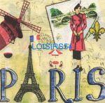 Serviette papier Paris et Moulin Rouge - 33 cm x 33 cm 2 plis
