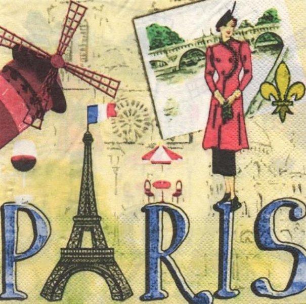 Serviette papier Paris Moulin Rouge  33 cm X 33 cm 2 plis
