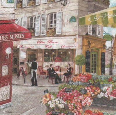 Serviette papier Paris place des fleurs 33 cm X 33 cm