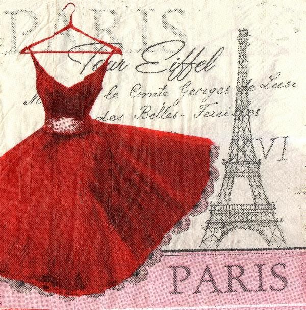 Serviette papier Paris et robe  33 cm X 33 cm 3 plis