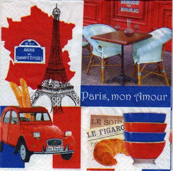 Serviette papier Paris et terrasse 33 cm X 33 cm 3 plis