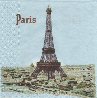 Serviette papier Paris et tour Eiffel 33 cm X 33 cm 3 plis