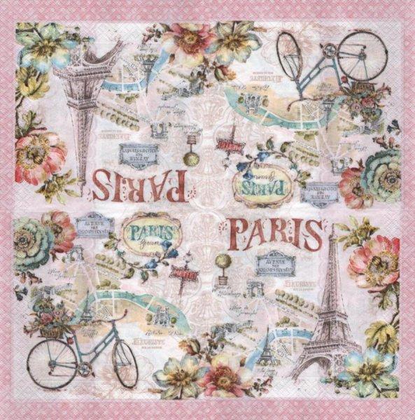 Serviette papier Paris et vélo 33 cm X 33 cm 3 plis