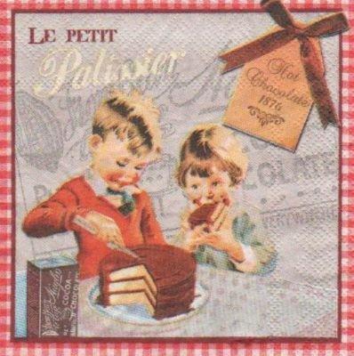 Serviette papier le petit patissier de 25 cm X 25 cm 3 plis