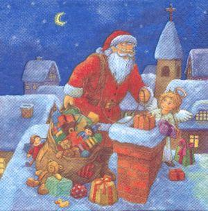 Serviette papier Père Noël et cheminée 33 cm X 33 cm 3 plis