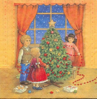 Serviette papier Père Noël et cadeaux 33 cm X 33 cm 3 plis