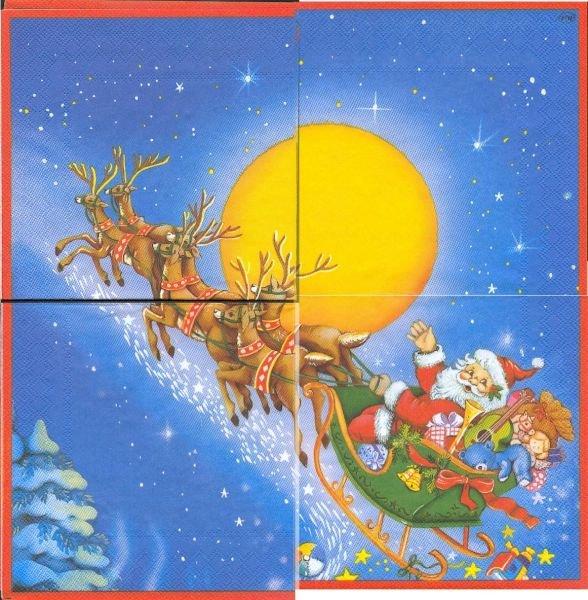 Serviette papier Père Noël et traineau 33 cm X 33 cm 3 plis